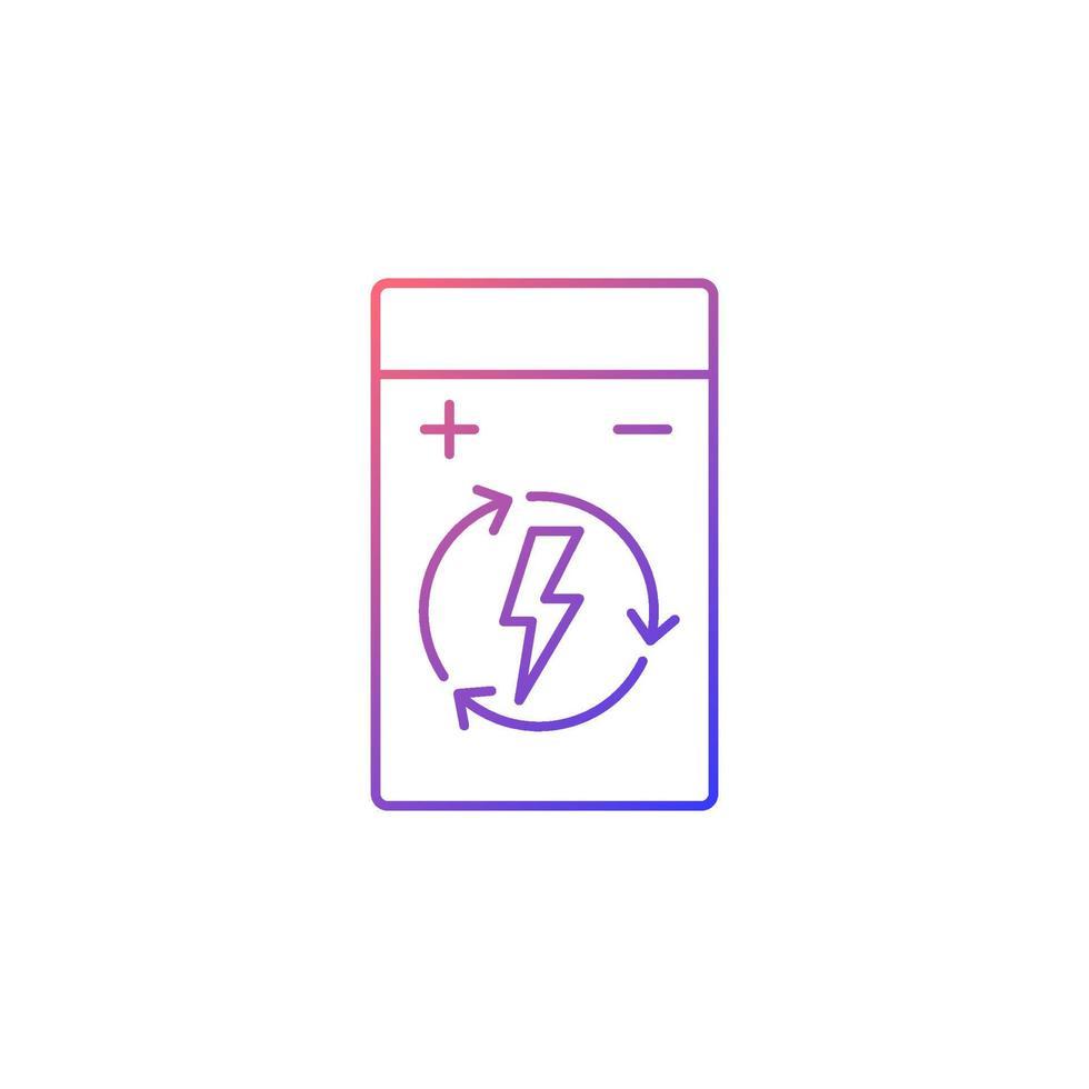 ícone de rótulo manual de vetor linear de gradiente de bateria de polímero de lítio recarregável