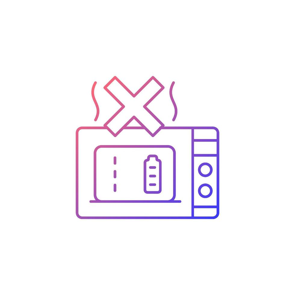 não microondas powerbank gradiente linear vetor ícone de rótulo manual