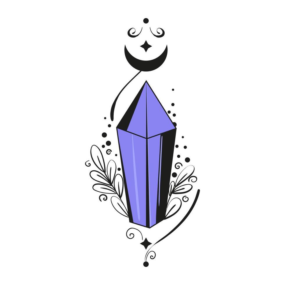 cristal mágico preto-violeta com lua e monogramas. ilustração em vetor plana de gemas e runas de bruxa.