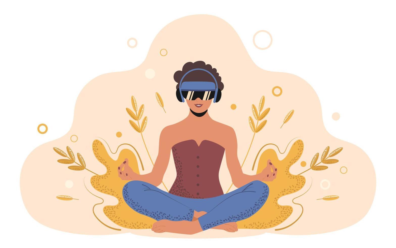 jovem mulher em posição de lótus pratica ioga com óculos vr. tecnologias para o futuro da saúde física e mental. ilustração em vetor plana na moda