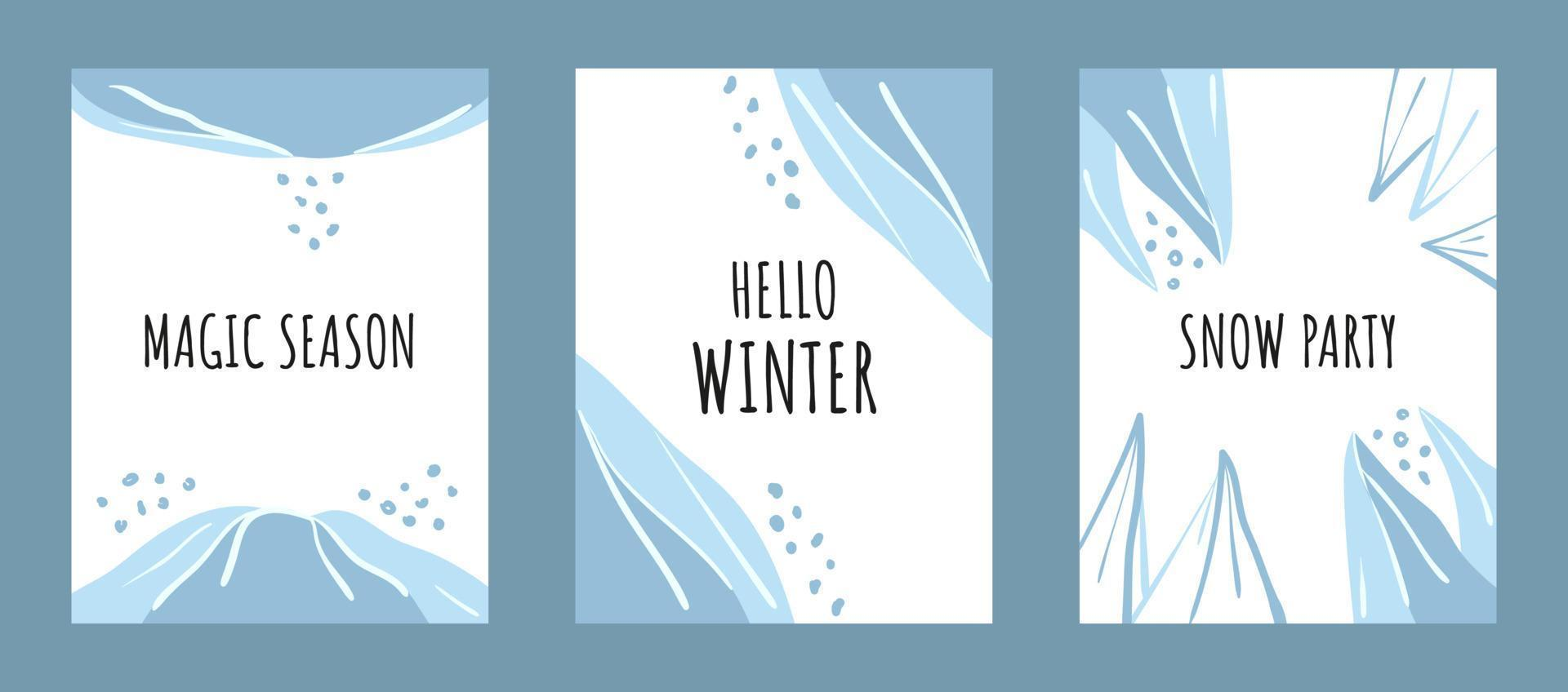 conjunto de cartões de inverno com linhas e formas abstratas. fundo de vetor plano de estação fria