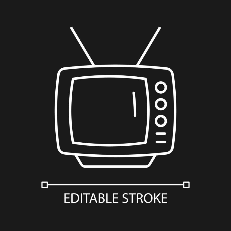 ícone linear branco de televisão antigo para tema escuro vetor
