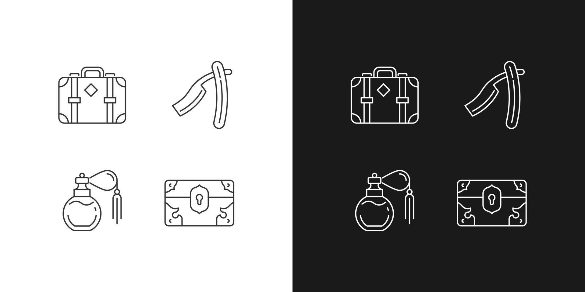 Ícones lineares de coleção vintage definidos para o modo claro e escuro vetor