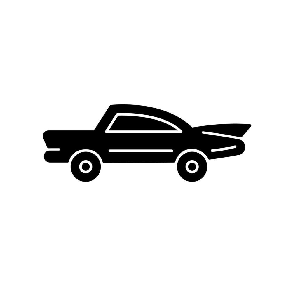 ícone de glifo preto de carro clássico vetor