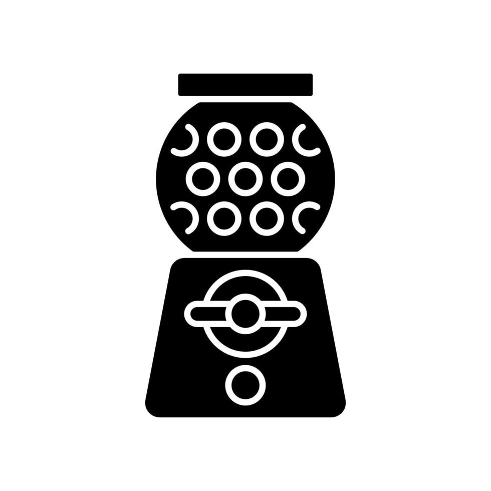 ícone de glifo preto de máquina de chicletes vetor