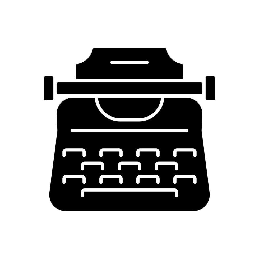 ícone de glifo preto de máquina de escrever vintage vetor
