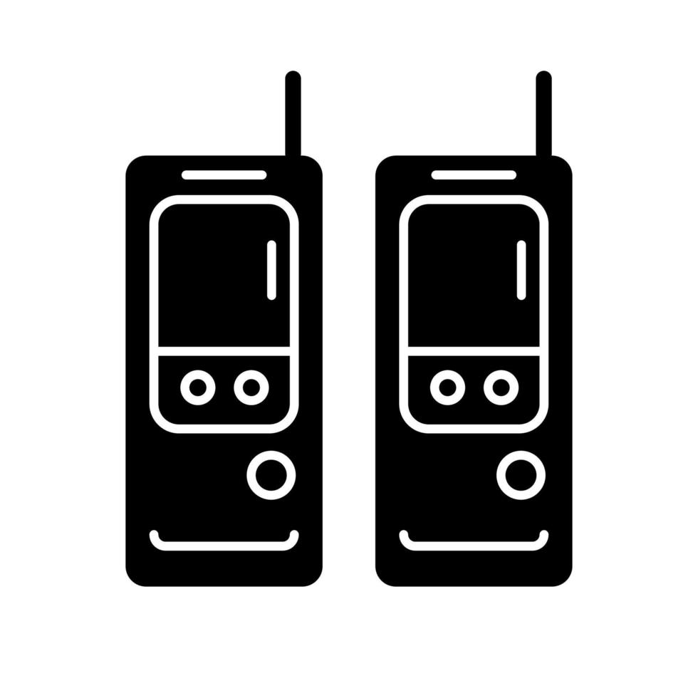 ícone de glifo preto de walkie-talkie vetor