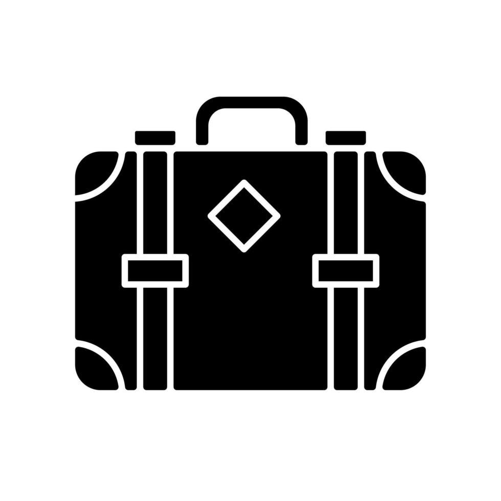 ícone de glifo preto de mala estilo antigo vetor
