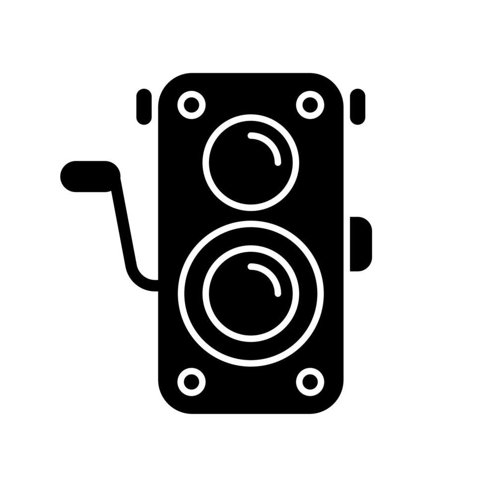 ícone de glifo preto de câmera fotográfica antiga vetor