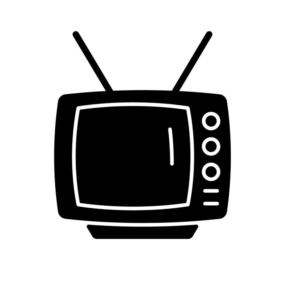 ícone de glifo preto de televisão de estilo antigo vetor