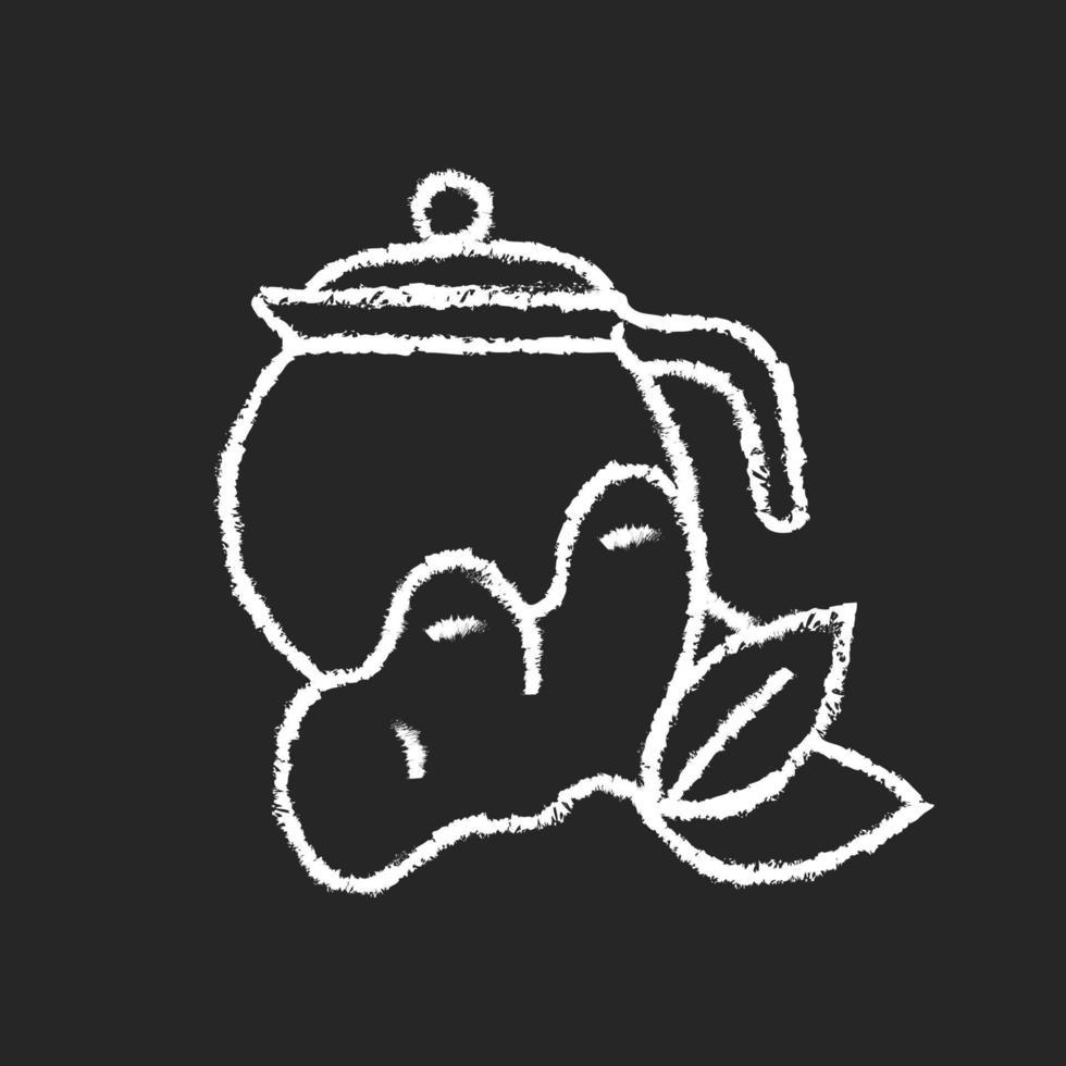 ícone de giz de chá de gengibre branco em fundo escuro vetor