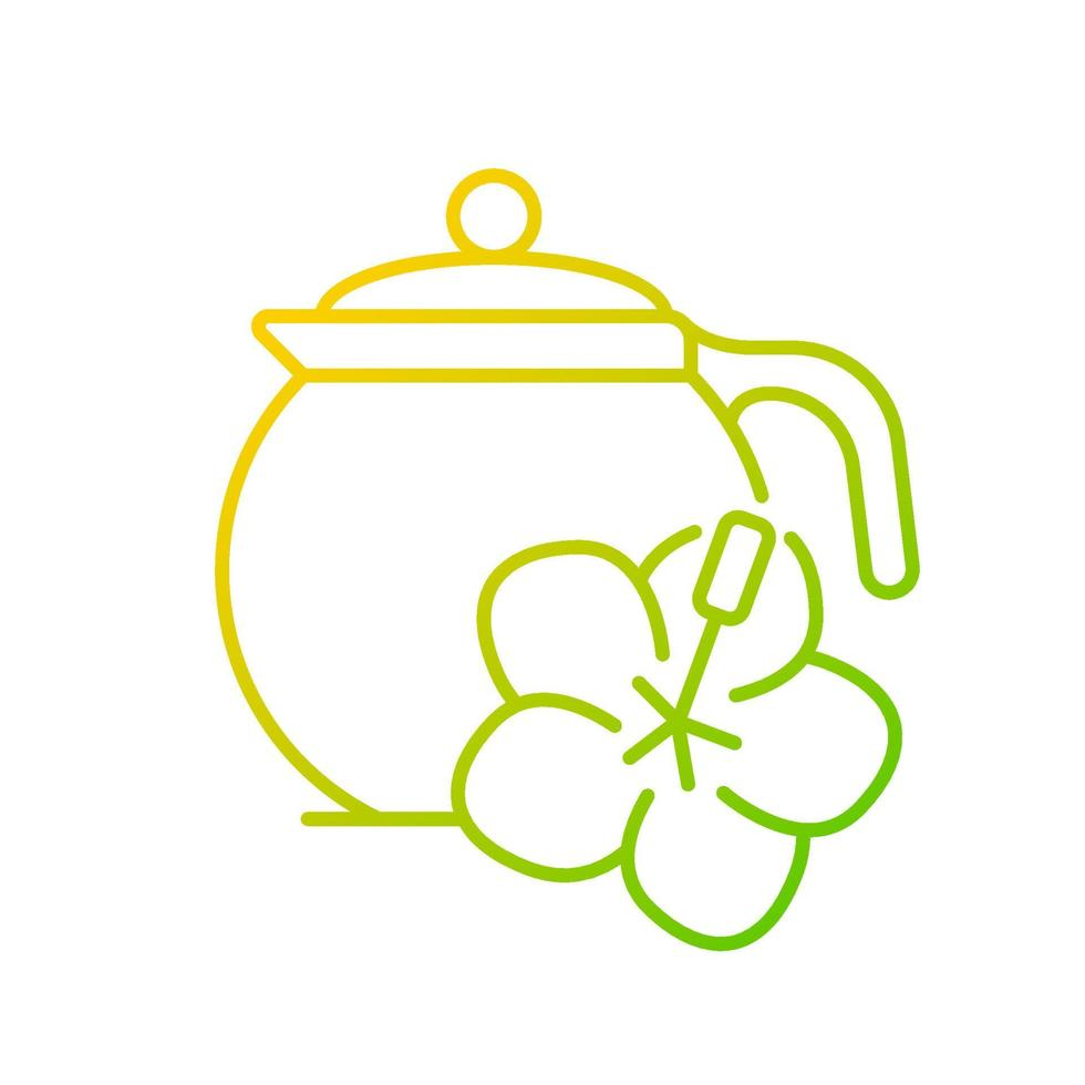 ícone de vetor linear gradiente de chá de hibisco