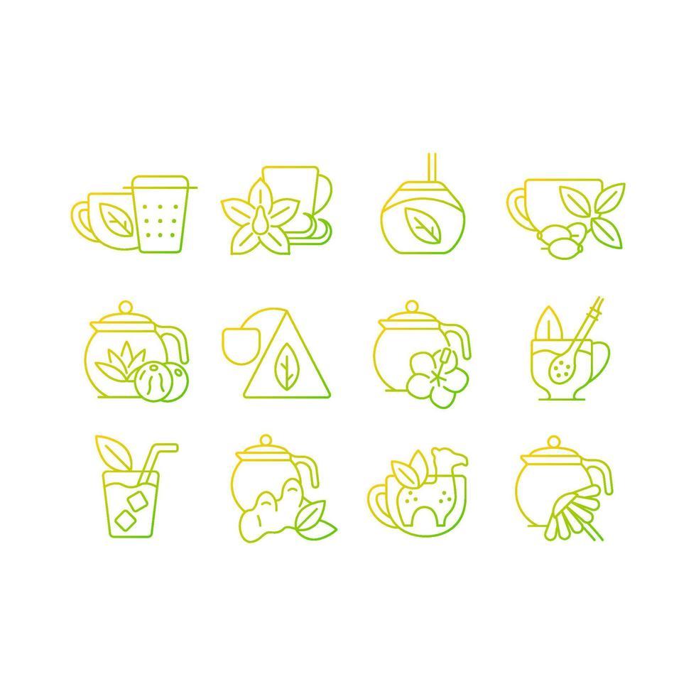 beber chá relacionado conjunto de ícones do vetor linear gradiente.