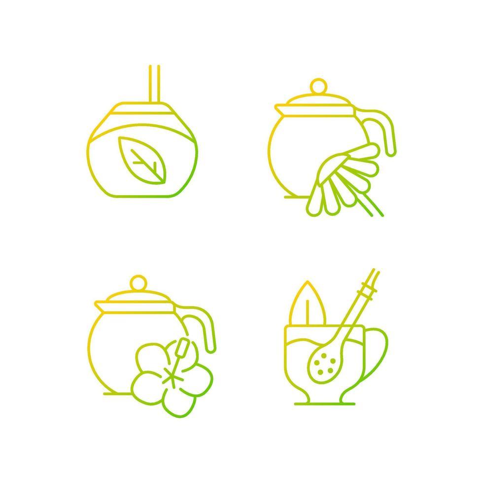 conjunto de ícones do vetor linear gradiente de chá de ervas.