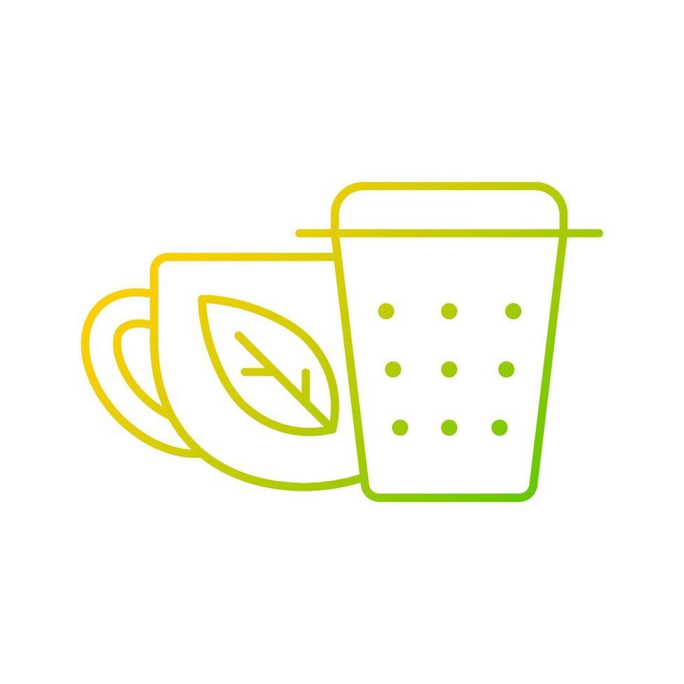 infusor de chá de metal, ícone de vetor linear gradiente de filtro