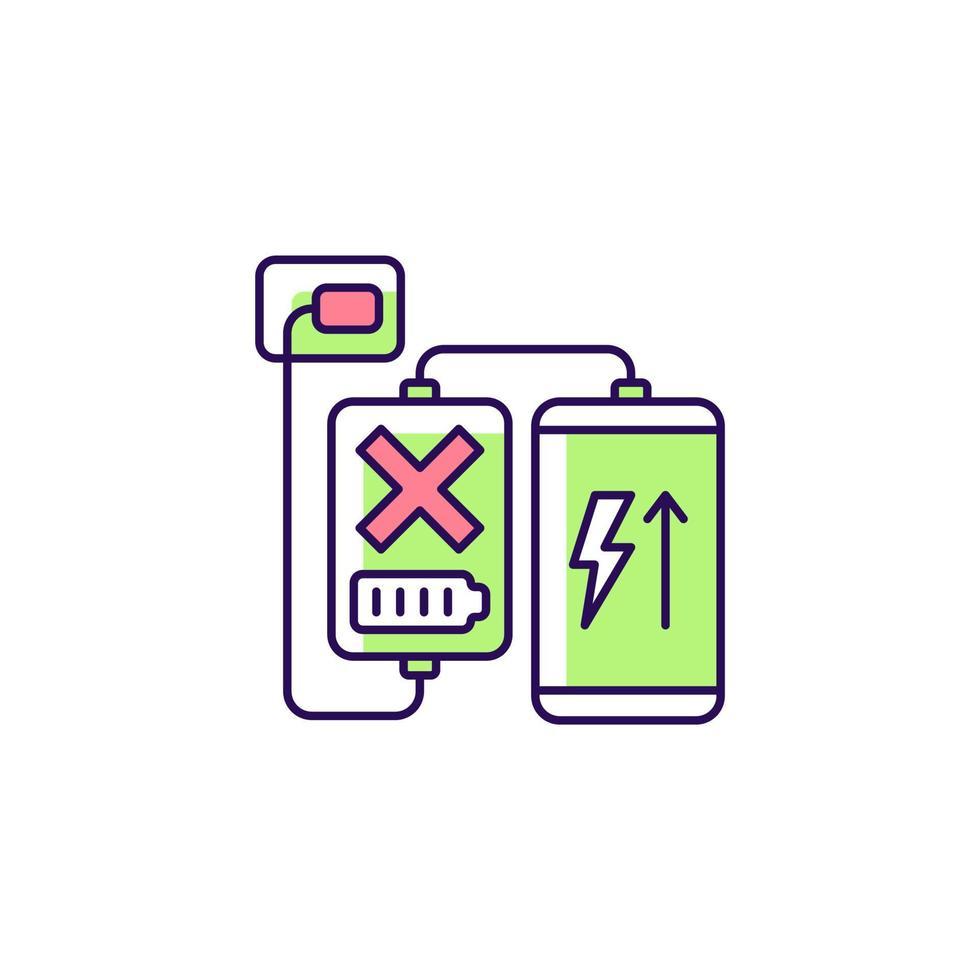 carregando, descarregando ícone do rótulo manual colorido rgb do powerbank vetor