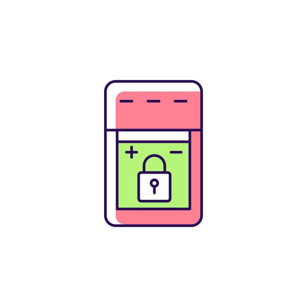 ícone de etiqueta manual de cor rgb de bateria não substituível vetor