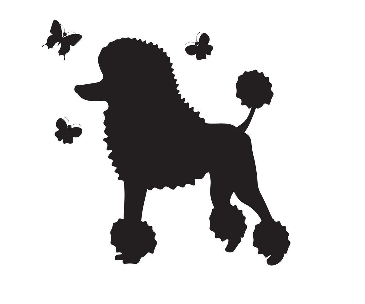 silhueta de um poodle com borboletas vetor