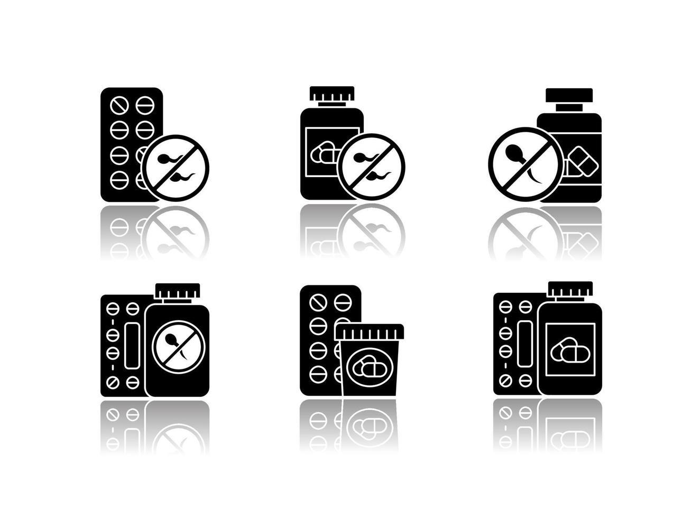 conjunto de ícones de glifo preto de sombra projetada para controle de natalidade vetor