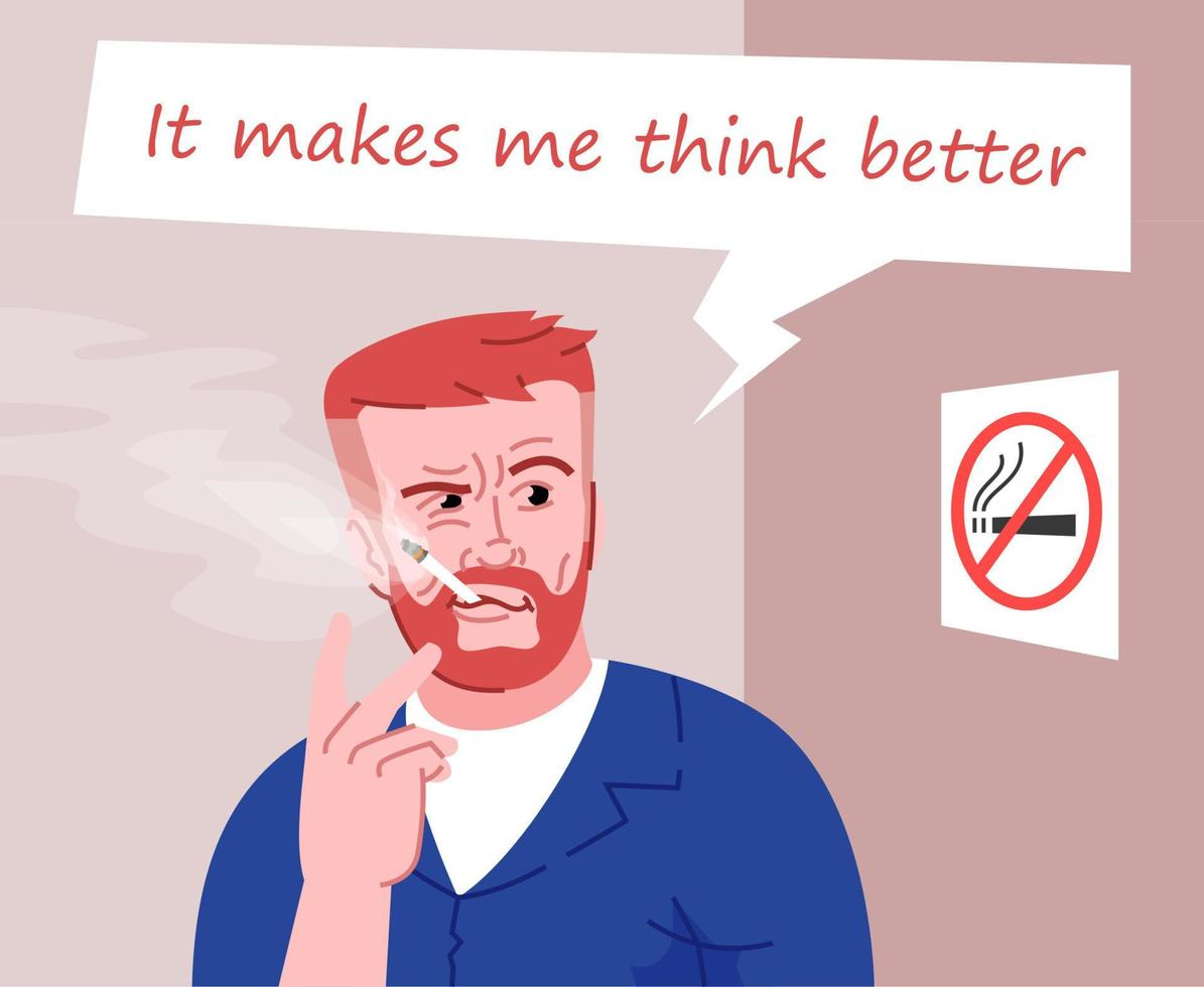 ilustração em vetor cor lisa fumante inveterado