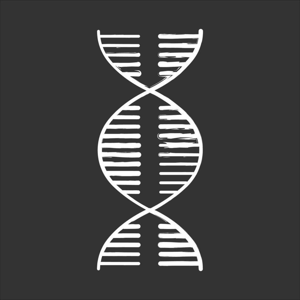 ícone de giz espiral de DNA vetor