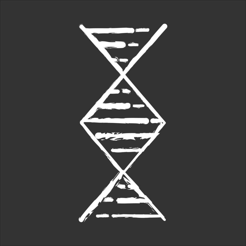ícone de giz de hélice de DNA em forma de diamante vetor
