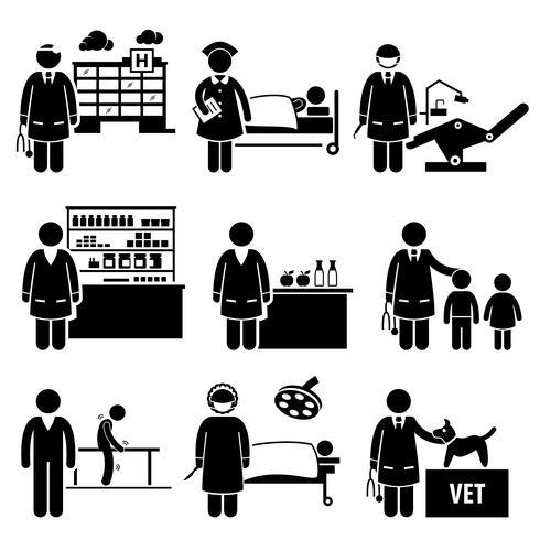 Saúde Médica Hospital Empregos Profissões Carreiras vetor