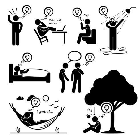Homem pensou em nova idéia Stick Figure pictograma ícones. vetor