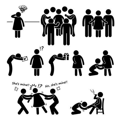 Figura Slutty ícone popular Cliparts da vara da mulher do pictograma. vetor