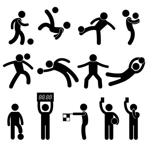Futebol futebol goleiro árbitro bandeirinha ícone símbolo sinal pictograma. vetor