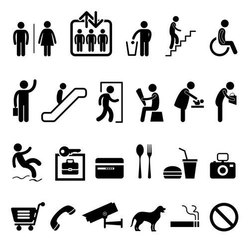 Símbolo público do ícone da construção do centro comercial do sinal. vetor