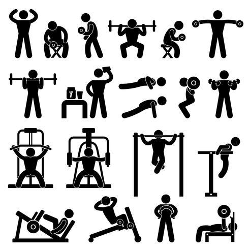 Exercício da aptidão do treinamento do exercício do body building do ginásio da ginástica. vetor