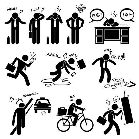 Falha Empresário emoção emoção ação Stick Figure pictograma ícones. vetor