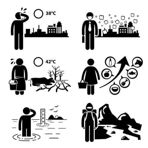Efeitos de estufa aquecimento global Stick figura pictograma ícones Cliparts. vetor
