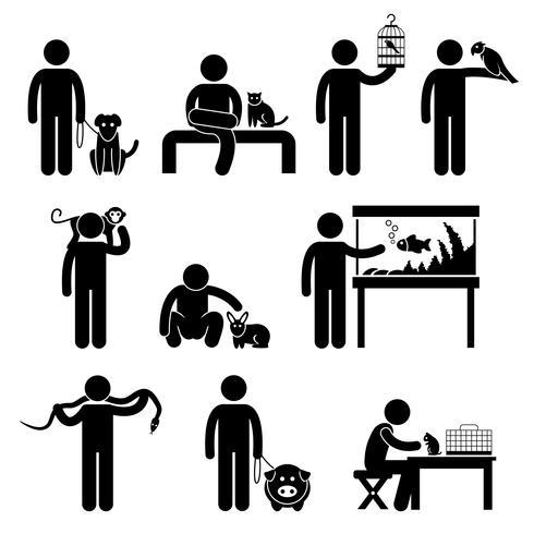 Humanos e animais de estimação pictograma. vetor