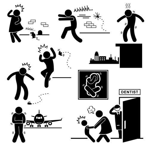 Fobia de pessoas medo Assustado medo Stick Figure pictograma ícone. vetor