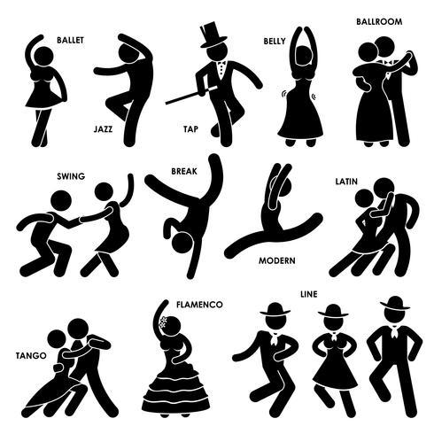 Dança Dançarina Ballet Jazz Tap Barriga Salão de Baile Swing Break Modern Latina Tango Flamenco Linha Stick Figure Ícone do pictograma. vetor