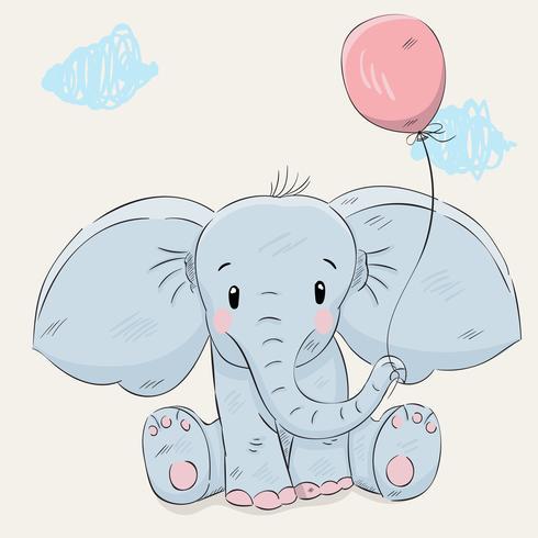 mão de elefante pequeno bonito desenhado vetor