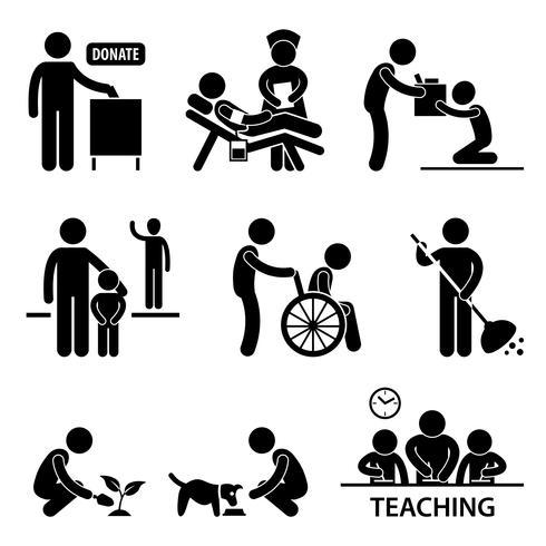 Doação de caridade voluntária ajudando Stick Figure pictograma ícone. vetor