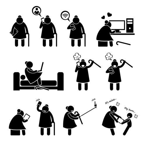 Mulher idosa idosa da alta tecnologia que usa o computador e a figura ícones da vara de Smartphone do pictograma. vetor