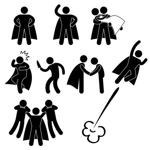 Super-herói herói resgate ajuda proteger garota voar ícone símbolo sinal pictograma. vetor