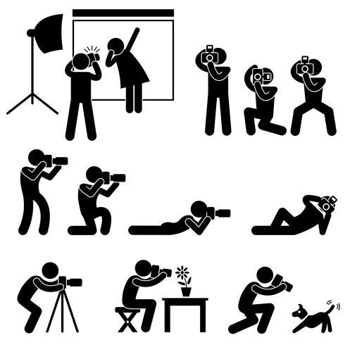 Pose do paparazzi do operador cinematográfico do fotógrafo que levanta o pictograma do sinal do símbolo do ícone. vetor