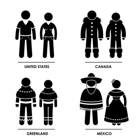 Vestuário de traje tradicional da América do Norte. vetor