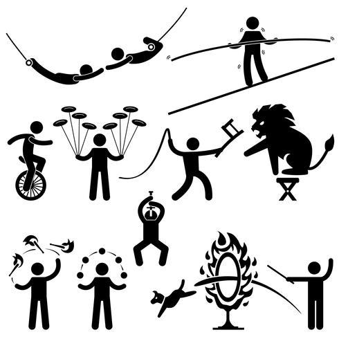 Artistas de circo Acrobat Stunt Animal homem Stick Figure pictograma ícone. vetor