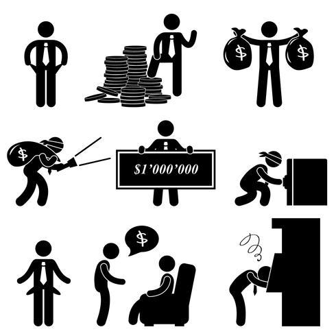 Falha pobre rico sucesso empresário desesperado ícone símbolo sinal pictograma. vetor
