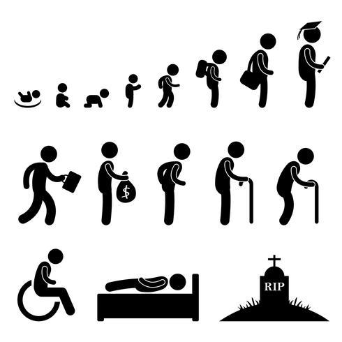 Vida humana bebê criança estudante trabalho velho homem morte. vetor