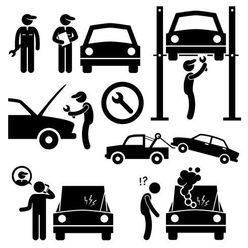 Reparação de carro serviços oficina mecânica Stick figura pictograma ícones. vetor