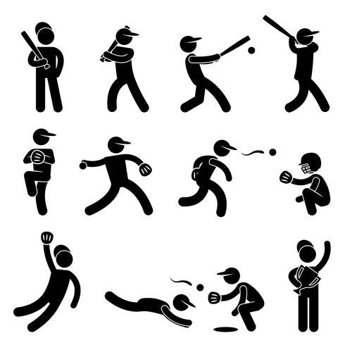 Basebol Softball Swing Jarro Campeão Ícone Símbolo Sinal Pictograma. vetor