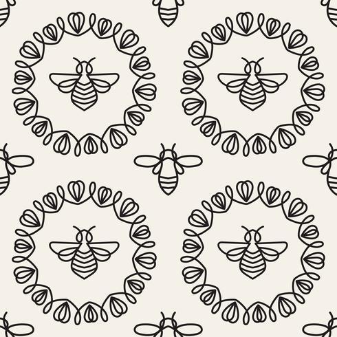 Padrão sem emenda com abelha vetor