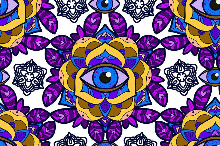 Bela peônia, rosa flor com um olho da providência. vetor